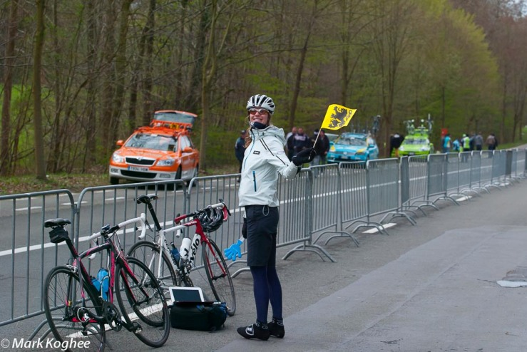 Visiting the Tour of Flanders in style on April 1. Girlfriend Marjetka waves a Flemish flag.