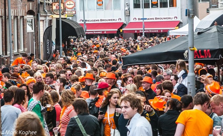 Queens Day in the Netherlands is an event not to be celebrated alone. A packed centre of Zaandam on April 30.