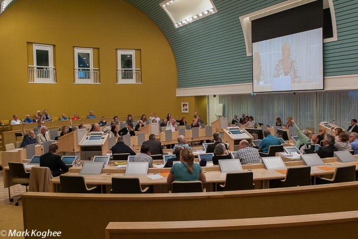 Voting in town hall of Zaanstad at the end of the last meeting I would attend on June 21.