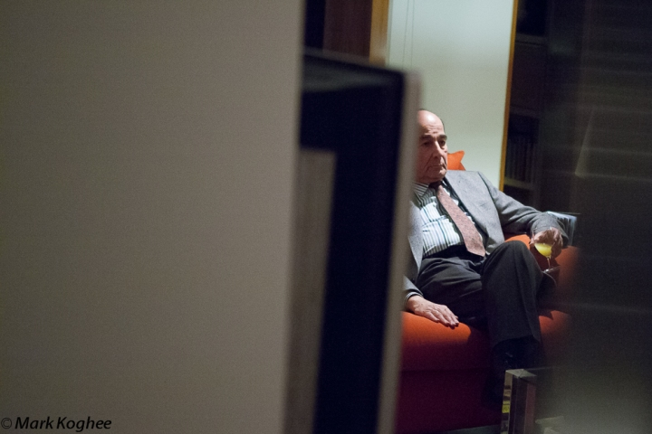 Former Turkish ambassador Balkan Kizildeli finds a moment of rest at a reception in the residence of Dutch ambassador Jos Douma in Ljubljana on December 19.