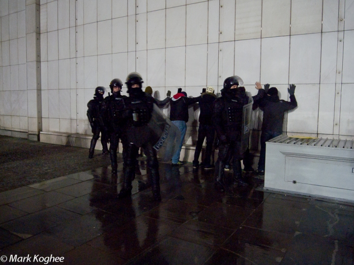 Busted. Police arrested dozens at a protest in Ljubljana on November 29.