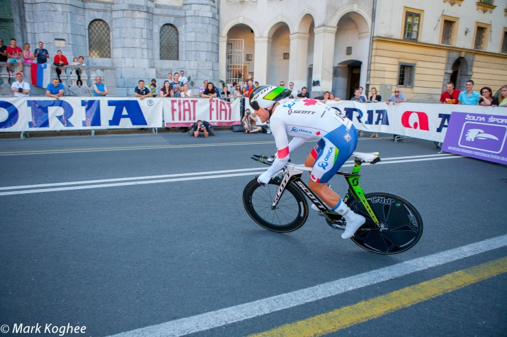 Svein Tuft from Canada takes off for his winning ride in the opening time trial of the Tour of Slovenia in Ljubljana.