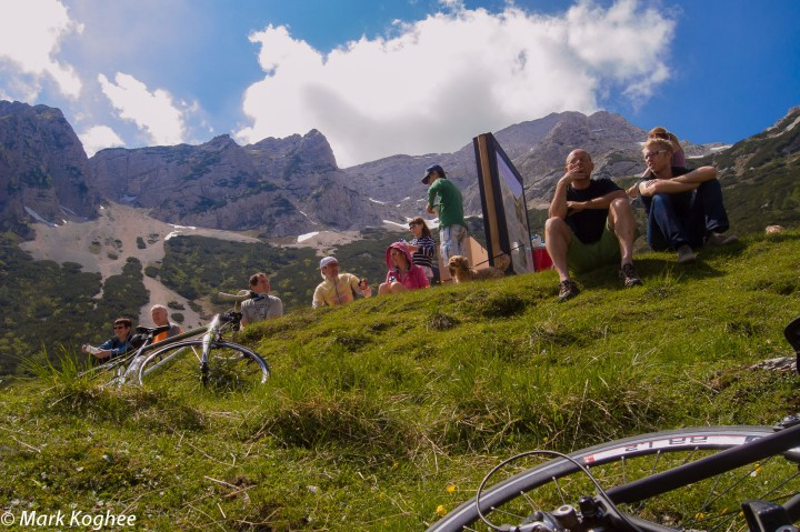 Spectators await the riders on top of the Vrsic mountain pass.