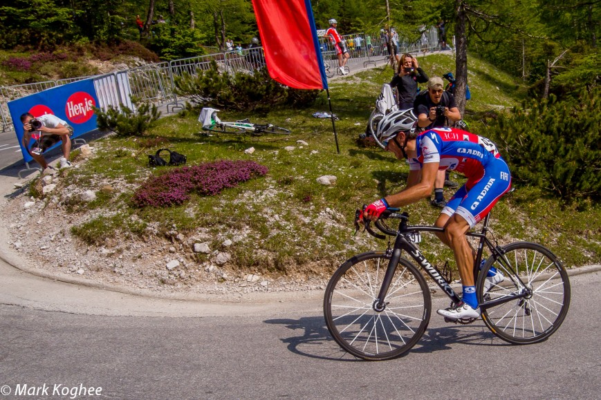 Radoslav Rogina from Croatia pushing himself to a solo win on the Vrsic mountain pass.