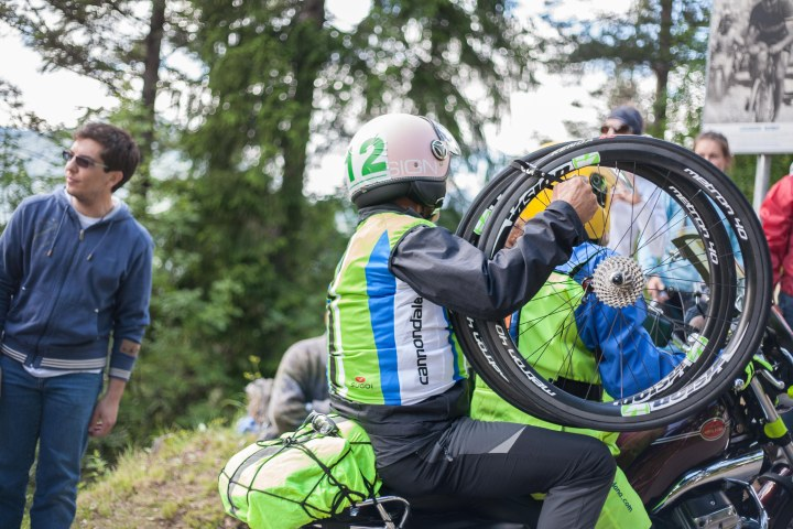 The largest cog on this spare wheel of the Cannondale team has 30 teeth.