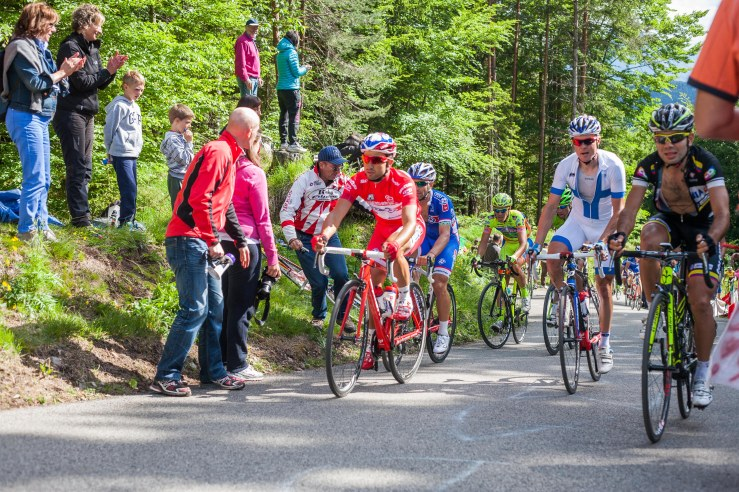 Nacer Bouhanni, left in the red points jersey, gave up boxing for cycling. He won three stages and the points jersey.