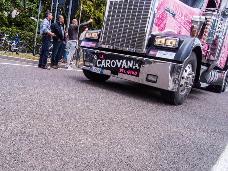 Thumbs up for the big truck of the rolling disco that is the publicity caravan.
