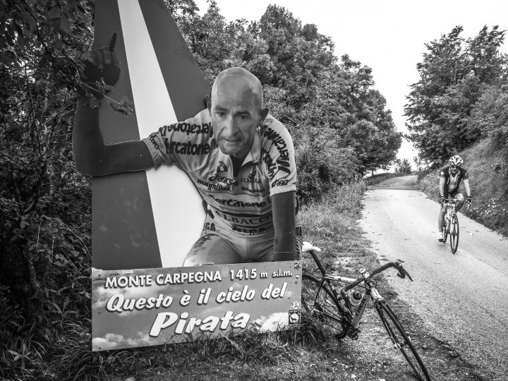 Every day cyclists have their picture taken next to this monument for Pantani on top of the Cippo di Carpegna.