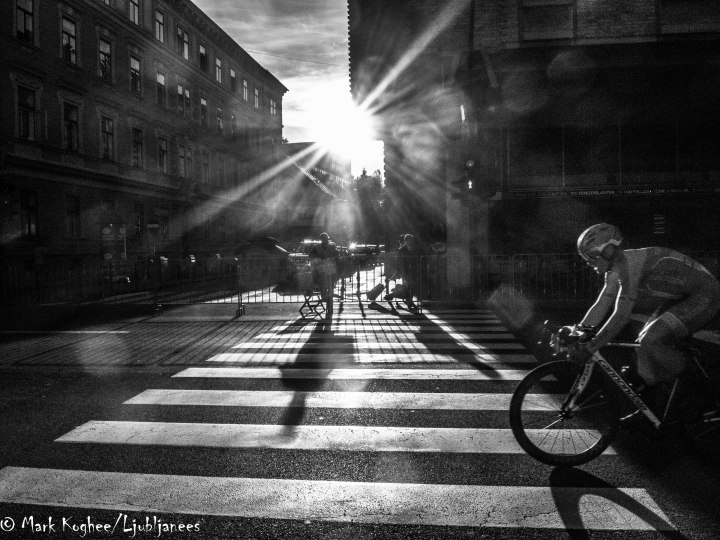 It hasn't been a good summer in Slovenia but during the four days of the World Championships there was plenty of sunshine. Here the sun peeps through the buildings in the centre of Ljubljana during the team relay race on Friday evening.