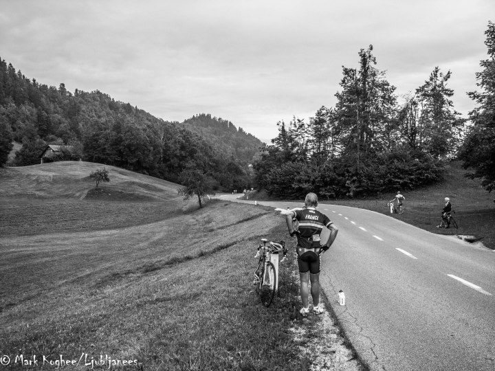 For many of the foreign competitors it was the first time they visited Slovenia. Most were impressed by the scenery of places like this; the top of the first climb less than 30 kilometres from Ljubljana.