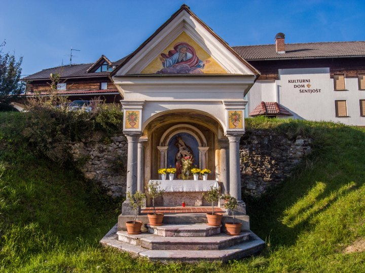 There are six roadside shrines in Šentjošt nad Horjulom registered as cultural heritage and this is one of them.