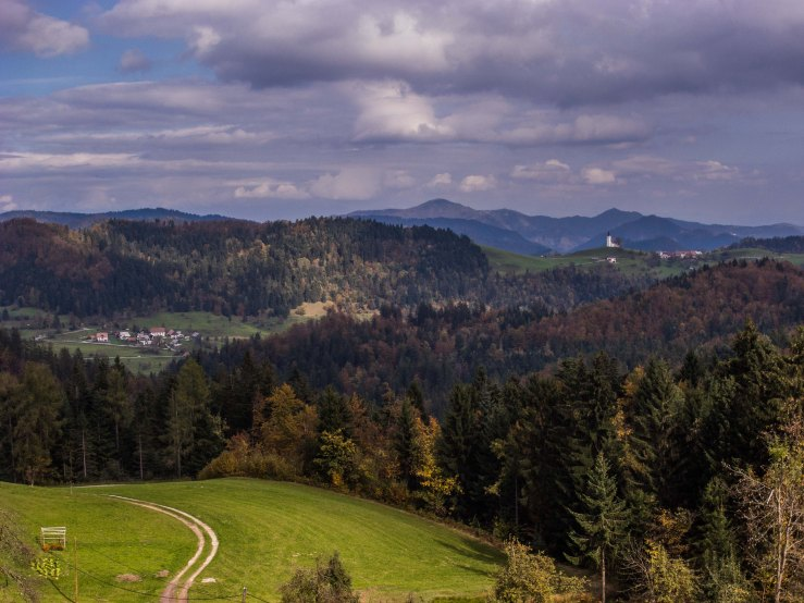 From Goli Vrh you can see the church of Crni Vrh. In the former Yugoslavia you can find many places called Crni Vrh. This is the one closest to Ljubljana.  Crni Vrh is Slovenian for black top.