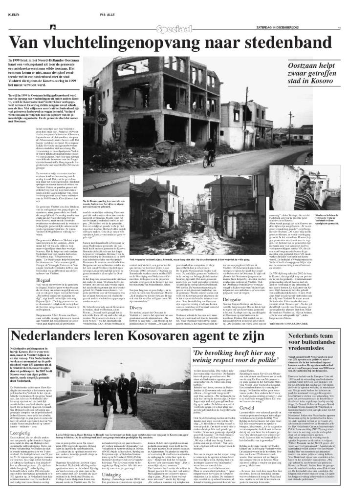 Noordhollands Dagblad, 14 December 2002