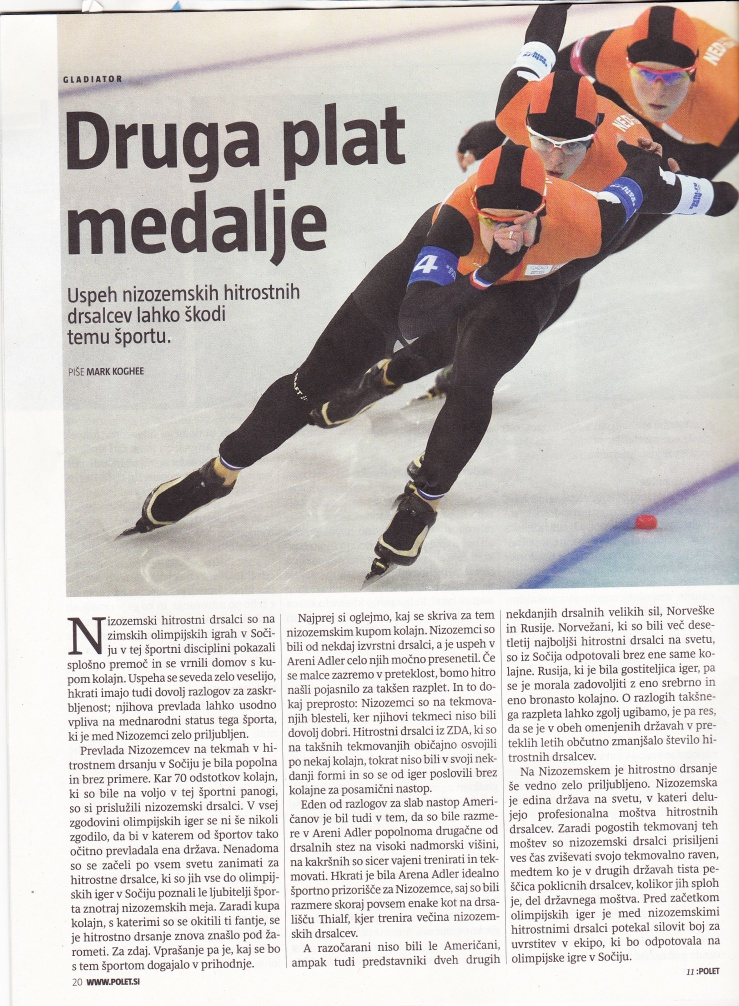Polet, magazine daily Delo. 13 March 2014
