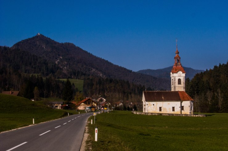 "Three Kings' Church, Briše pri Polhovem Gradcu. (And on top of the hill the Saint Lawrence Church of Polhov Gradec). (click to enlarge) 46° 3'13.94  14°18'7.19"""